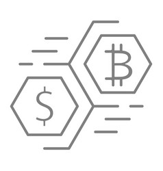 bitcoin and dollar moving currency thin line icon vector image