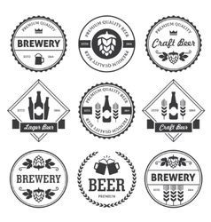 Black beer labels isolated on white vector image