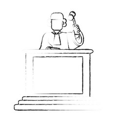 Blurred silhouette faceless judge in law courts vector