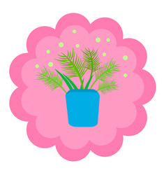 bowl with greens and fern on a pink vector image