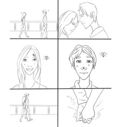 boy and girl dating storyboard vector image