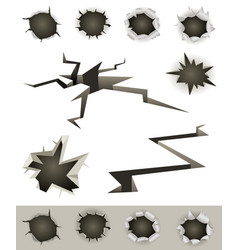 Bullet holes cracks and slashes set vector