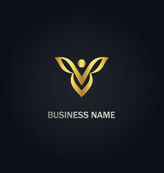 butterfly beauty gold logo vector image