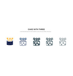 Cake with three candles icon in different style vector