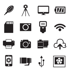 Camera icons and accessories icons vector