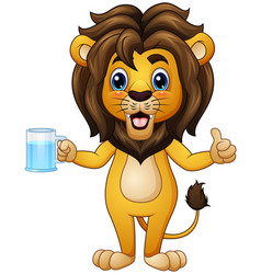 cartoon lion holding a drink vector image