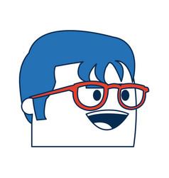 Cartoon man business wearing glasses orange vector