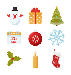 christmas winter icon set in flat design vector image