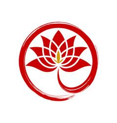 circle red lotus diamond abstract logo vector image
