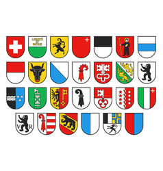 Coat arms switzerland and swiss cantons vector