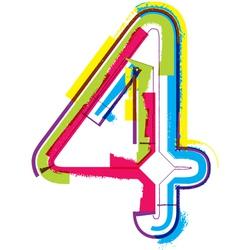 Colorful Grunge font Number 4 vector image