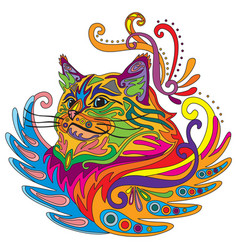 Colorful ornamental cat 5 vector
