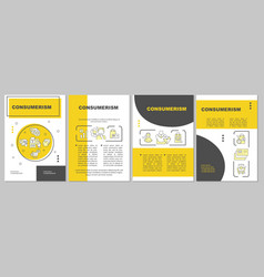 Consumerism yellow brochure template vector