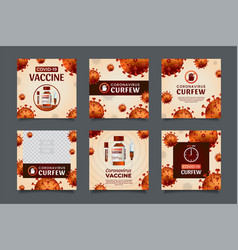 coronavirus vaccine and curfew concept ig post vector image