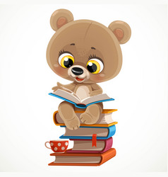 cute cartoon baby bear sitting on a stack vector image