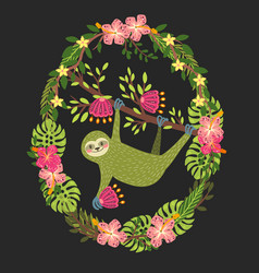 Cute green three toed sloth kids art vector