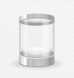 Cylinder round glass showcase box isolated 3d vector