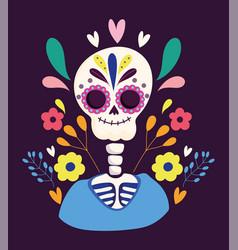 day dead skeleton flowers festival vector image