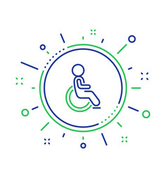 Disabled line icon handicapped wheelchair sign vector