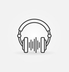 Dj headphones with sound wave creative line vector