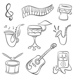 doodle of music theme hand draw vector image vector image