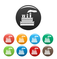 eco factory icons set color vector image