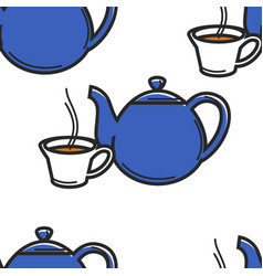 english tea ceremony seamless pattern teapot and vector image
