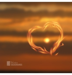 Fire love heart vector image