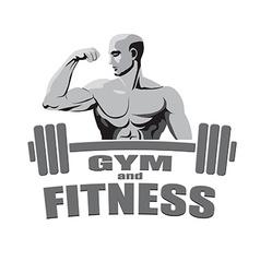 Fitness gym logo mockup bodybuilder showing biceps vector