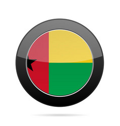 flag of guinea-bissau shiny black round button vector image