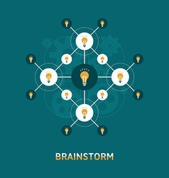 Flat Design of Brainstorm Concept Lamps vector