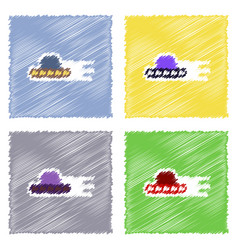 Flat icon design collection flying saucer vector