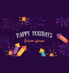 flyer greetings card with fireworks and rockets vector image