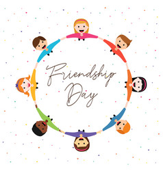 Friendship day card of happy kid friends together vector