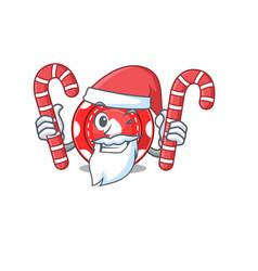Gambling chips cartoon character in santa costume vector