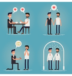Gay couple love story vector