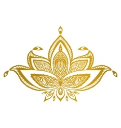 Gold lotus border mandala vector