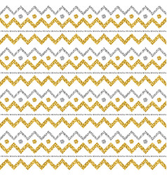 golden and silver glittering zigzag pattern gold vector image
