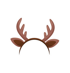 Hair hoop with cute brown ears and horns of deer vector