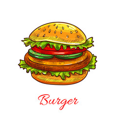 Hamburger fast food cheeseburger icon vector
