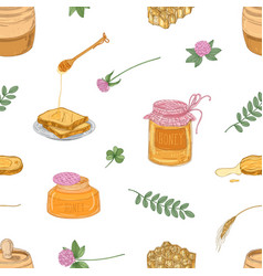 hand drawn seamless pattern with delicious organic vector image