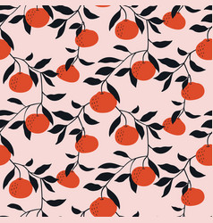 hand drawn seamless pattern with tangerines vector image