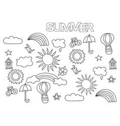 Hand drawn summer weather set coloring book page vector