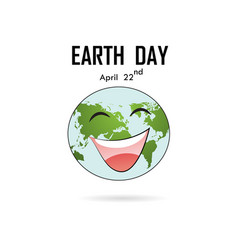 Happy earth day april 22 with globe cute vector