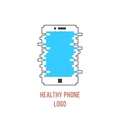 healthy phone branding with white outline phone vector image