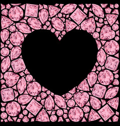 Heart frame made of pink gemstones on black vector