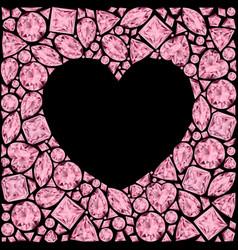 Heart frame made of pink gemstones on black vector