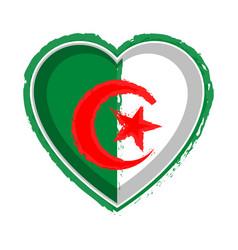 heart shaped flag of algeria vector image