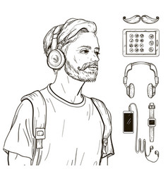 hipster man men portrait and accessories set vector image