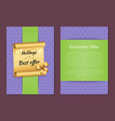 Holidays best exclusive offer banner golden paper vector